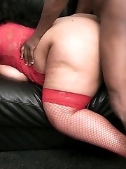 Huge black fattie in red lingerie picked up and stabbed with thick dick