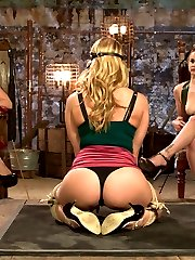 Carissa Montgomery is a gorgeous MILF who pushed her boundaries in this sadistic lesbian update. Carissa suffers to please her dominatrices Bella Rossi and Chanel Preston. Foot worship, pussy licking, painful zipper, hard spanking and a pile driver lesbian double penetration are all included!