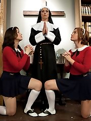 Whipped Ass would like to wish you a Happy Halloween with this week's special, Sins Of The Flesh. We push boundaries and explore taboos to get your blood pumping this holiday, mixing nothing but the best lesbian BDSM into our kinky story. Sister Mother Superior Felony is a legend at the convent. Rumors spread like wild fire of the nun's sadistic lesbian tendencies and of where she actually came from. Like most nosy co-ed's Sarah and Jodi can't help but poke fun at the rumors about Mother Superior and her not so holy past. Before they know it they've got themselves in deep water with Sister Felony and find themselves caught in a world of harsh punishment, taboo lesbian sex and kinky blasphemy where what goes on behind closed doors in this convent is too kinky to mention. Hard spanking, pussy licking, ass worship, squirting, nipple torture, strap-on fucking and anal sex are all included! Have a kinky Halloween!