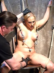 Angel is a Hogtied dream girl with her big tits, blonde hair, tan skin, and full figure. The one thing that is missing is putting some rope on this slut an treating her like the other whores we see. Her nipples are tormented and stretched, her body abused with canes and floggers, her pussy fucked, her feet subjected to bastinado, and non stop orgasms ripped from her whore pussy.