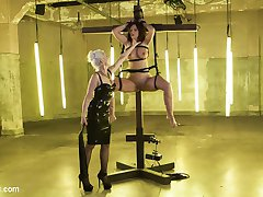 Sensual latex Goddess Lorelei Lee has tough slut Syren de Mer at her mercy. Syren eagerly submits to bondage, electrified nipple clamps, intense finger banging, the cattle prod, choking, flogging, and electrified wire around her legs and toes. Syren begs to come for her Mistress while getting fisted and fucked to multiple orgasms with an electrified dildo. Finally, bound in latex, Syren serves her Mistress with her tongue while she gets shocked by the violet wand and a wired butt plug.