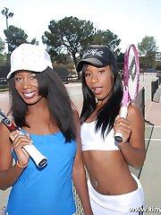 Sporty ebony girls gorge on a colossal black cock