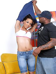 Curvaceous ebony beauty rides a cock like a horny cowgirl