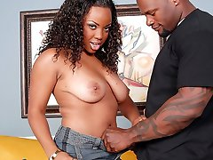 Watch this plump black chick getting her pussy stretched by a hard cock