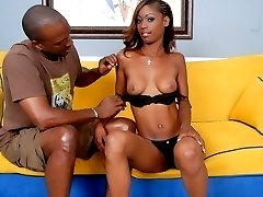 Curly-haired black babe gets fucked hard from behind