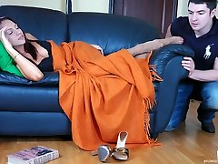 Sleepy chick in lacy hose doesn�t mind footjob before creamy intercourse