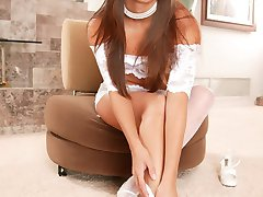 Bobbi Blair white stockings and lingerie