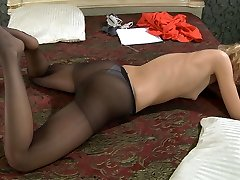 Sweetheart fondles every toe of her feet before putting on her dark pantyhose