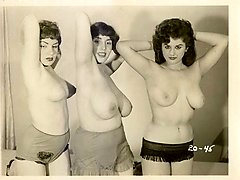 Three retro gals pack each other with sex toys