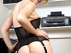 Stocking tease secretary Katie, strips to get a deal...