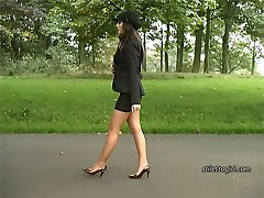 Gorgeous Faye wears the most elegant and beautiful looking high heel shoes and walks slowly in a short tight skirt