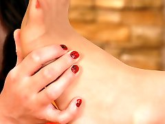 Footsie lesbians lick sleek nylon clad toes and shove them into moist slits
