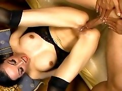 Skinny asian in stockings having upside down anal