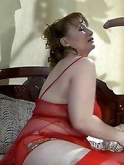 Raunchy mom clad in red undies blows young meat before rough anal pounding
