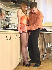Cutie in control top hose and horny guy having fucking good time in kitchen