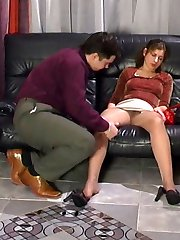 Mischievous blondie plays oral games through pantyhose before a cock-ride