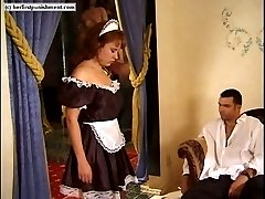 Misbehaving maid stripped naked in the parlour and welted across her upturned bottom