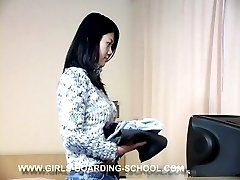 Asian teen paddled on her lovely young ass - glowing red buttocks