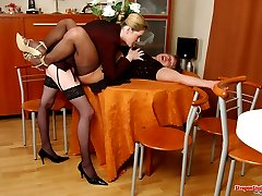 Horny sissy guy cant resist strap-on attack in wild ass-screwing on table