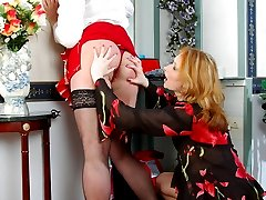 Slutty sissy maid getting his ass torn open with a strap-on of sultry chick