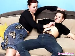 Sex-crazy babe putting her strap-on into action while fucking guy like hell