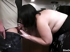 Brunette fattie in glasses makes hubby cheat offering her shaved cunt