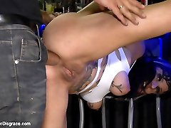 Damaris is left all day tied to a trashcan in front of hundreds of shoppers. Then she is dragged to a bar where she\'s finger fucked and disgraced by a crowd of strangers. She gets pounded by a big cock for all to see