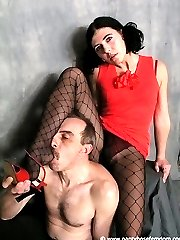 Femdom in pantyhose and fishnets