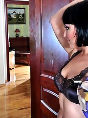 Sissified French maid sucking and riding a black strapon like a male whore