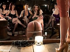 Welcome to another installment of FemDom Theatre! This is where Maitresse Madeline invites a handfull of her closest fem dom friends to enjoy the humiliation of one lucky slaveboy on display for their amusement! This movie is not to be missed! Maitresse Madeline evokes real and intense humiliating reactions from John Jammen in front of all her friends! This update includes CFNM, humiliating strap-on ass fucking, spanking and whipping, John gets a cigarette single tailed out his mouth and last but surely not least he has his prostate milked three times! John likes the milking so much Madeline gets him back on his and knees and without ever touching him at all he spews a huge load of cum all over the floor in front of all the ladies and is made to lick it clean!