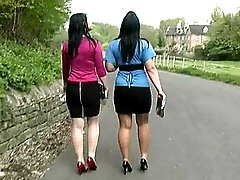 Stiletto wearing babes take a nice long walk on concrete flooring