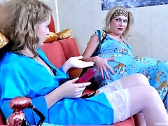 Pretty girl puts on her strapon present and nails down her sissified lover