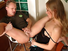 Heated babe making a guy spread his ass cheeks for strap-on penetration