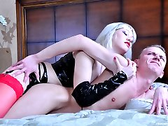 Hot kisses with a horny chick end up with strap-on ass-fucking for a guy