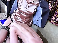 Smart lady getting tempted into freaky strapon play by her whoring lover