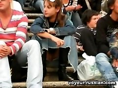 Public upskirthighlights on video filmed in a chick-filled Russian public place