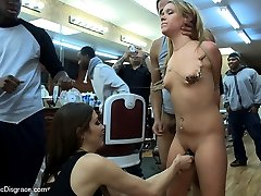 Shani Ried is handcuffed and presented to a gang of men at a barbershop. Her Ass is spanked until it\'s bright red and then she is PLOWED by so many dicks all she can do is cling to the red vinyl barber chair and continue to SUCK and FUCK. She is full of shame as she realizes she doesn\'t have enough holes or hands to keep all that cock satisfied. They finish with MALE FOOTWORSHIP and a (shaving) cream pie! These guys had NO IDEA what they were in for when they asked for a HIGH and TIGHT!