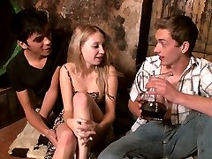 In the wine cellar, this fun loving cutie invites these young studs to live out her wildest...