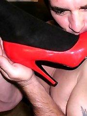 Sucking red high heels