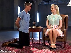 18 year old Sam Truitt gets the punishment that such a young man deserves in this hot domestic dungeon with his mistress, Cherry Torn. 18 years old is barely old enough to be called a man and boys will be boys and that cock of his does all his thinking for him. Cherry immediately bends Sam over her knee giving him a hard spanking until he is fish flopping in her lap. He\'s made to help her into her strap-on and then face down ass up & fucked hard in his young little asshole. His face is locked in a face sitting box and Cherry\'s round ripe ass takes his breath away. Cherry even uses his cock as a human dildo! Sam\'s dick is of course on the edge of eruption the entire time and only Cherry will decide his fate.
