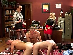 The Divine Bitches Corporation has been hired yet again to clean up the cesspool of yuppie corporate scum in the Bay Area. Three suited scum sit before Aiden Starr, Maitresse Madeline and LIVE board members to learn their fate. Extreme humiliation, clothed female naked male, coerced bi, edging, prostate milking, involuntary cum eating and so much more are included!