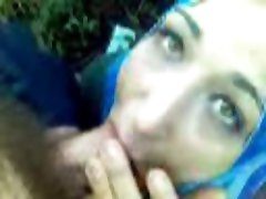 hijab amazing blowjob he cums in her mouth