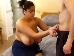 BBW with huge tits sucks and fucks her boyfriend's hard cock