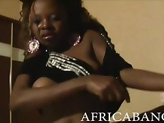 Sexy amateur African beauty doing long time boning and facial cum