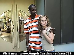 Amazing hot babe with blonde hair does blowjob for afro guy in car