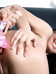 Giuly goes wild as her handsome stud plugs her ass with a barbie doll and butt fucks her with his huge dick