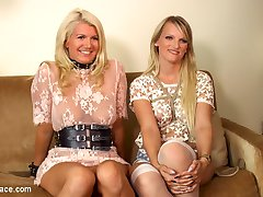 Two gorgeous busty rope bondage blondes get disgraced for your viewing pleasure. Watch these beautiful women get humiliated in public, suck huge cocks outdoors! These sluts then get fucked and disgraced in front of a huge crowd, begging for anal! We drench them in cum!