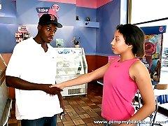 Cute black teen gets deep dick by a well hung black stud