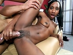 Dark chocolate Cameron Luv works Sledgehammer up into action with a sultry little tease. The dark skinned skinny honey wraps her full lips around his juicy dick and sucks him like a vacuum cleaner. Sledgehammer keeps it going through a wild banging session and leaves a frothy load of goo on Cameron for the effort!