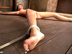 pSpread eagle on the floor Matt pounces on this slut with an aggressive flogging all over her...
